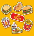 fast food stickers pop art vector image vector image