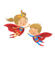 flying and laughing superhero boy and girl brown vector image vector image