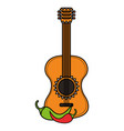 guitar instrument and chilli pepper vector image vector image