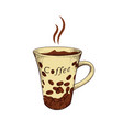 hand drawn coffee mug vector image vector image