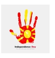 Handprint with the Flag of Macedonia in grunge vector image vector image