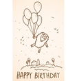 Happy birthday card Funny sheep with balloons vector image vector image