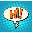 hi comic text bubble vector image vector image