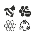 Honey icon Honeycomb cells with bees symbol vector image vector image