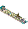 isometric map of the Champ de Mars in Paris vector image vector image