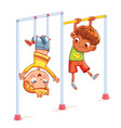 little boy playing on the horizontal bar vector image vector image