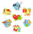love canada concept icons set cartoon style vector image