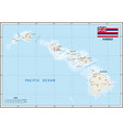 map us state hawaii with flag vector image vector image