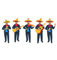 mariachi mexican street musicians in national vector image