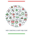 merry christmas circle banner vector image vector image