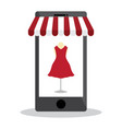 mobile with shopping online and red dress on white vector image