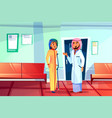 muslim doctor and patient vector image vector image