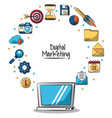 poster of digital marketing with laptop computer vector image vector image
