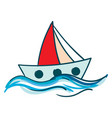 sailboat floating in the blue water or color vector image vector image