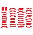 set of 34 ribbons in flat style red banner vector image vector image