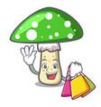 shopping green amanita mushroom character cartoon vector image