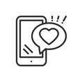 Smartphone with heart emoji message on screen line