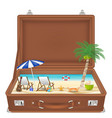 suitcase open with sea and beach scene in side vector image vector image
