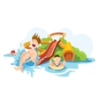 The cheerful boy rides on water hills vector image vector image