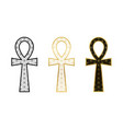 three ankh cross with flower life pattern vector image