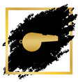 whistle sign golden icon at black spot vector image vector image
