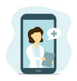 woman doctor online from your smartphone vector image vector image