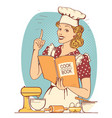 young woman chef in retro style clothes cooking vector image vector image