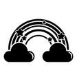 cloud rainbow icon simple black style vector image