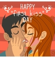 Happy first kiss day greeting card vector image