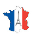 eiffel tower and flag of france vector image