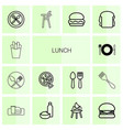14 lunch icons vector image vector image