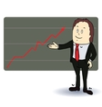 A man stands at the diagram of the arrow vector image vector image