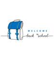 back to school simple schoolbag banner vector image