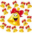bell cartoon with red ribbon - many facial vector image vector image