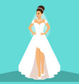bride wedding card with the bride on a blue vector image