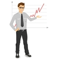 businessman giving presentation vector image vector image