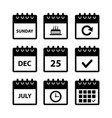 calendar icons for web design vector image vector image