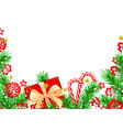christmas background with spruce and decorations vector image vector image