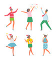 christmas party happy people having fun dancing vector image vector image