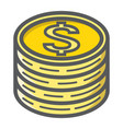 coins of dollar filled outline icon business vector image vector image