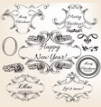 collection hand drawn flourishes engraved style vector image vector image