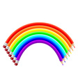 colored pencils in shape a rainbow vector image