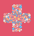 colorful pills tablets icons in cross shape vector image