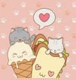 cute little cats with ice cream and sandwich vector image