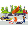 employees road works equipment and materials vector image