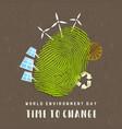 environment day card green finger print earth vector image vector image