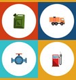 flat icon fuel set of fuel canister flange van vector image vector image