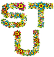 flower and bush letters 07 vector image vector image