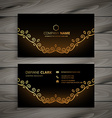golden floral business card vector image vector image