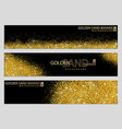 golden sand on black banner collection vector image vector image